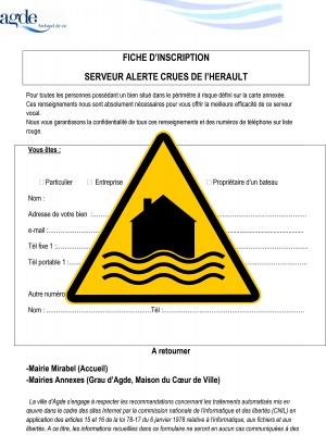 Fiche d'inscription «Alerte crues»  Commune d'Agde